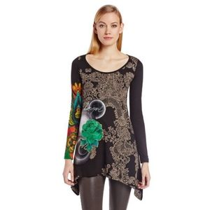 Desigual Yesi T Shirt Embroidered Tunic Size Large
